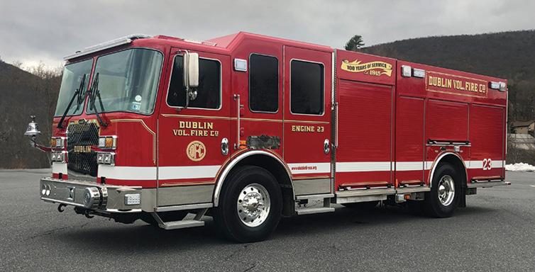 KME—Dublin (PA) Volunteer Fire Company pumper. Predator MFD cab and chassis; Cummins L9 450-hp engine; Waterous CSU 1,750-gpm pump; UPF Poly 1,000-gallon tank; Harrison 6-kW generator. Dealer: Bob Miller, KME PA.