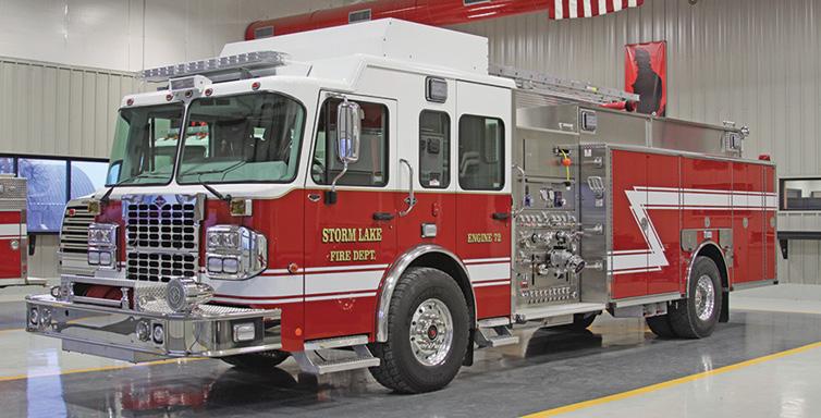 Toyne—Storm Lake (IA) Fire Department pumper. Spartan Metro Star cab and chassis; Cummins ISL9 450-hp engine; Waterous 1,250-gpm pump; UPF Poly 1.500-gallon tank; 25-gallon foam cell; 2,100-gallon portable tank; Harrison 15-kW generator; TFT XFT-NJ monitor; Foam Pro 2002 Class A foam system. Dealer: Dale Derner, Toyne Inc., Breda, IA.