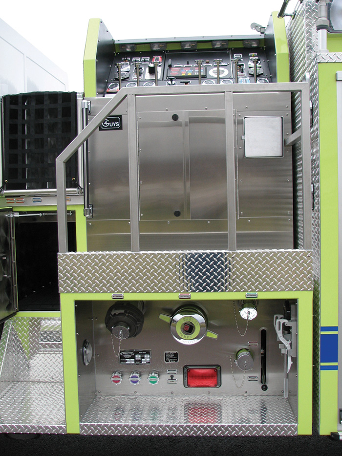 District 16 North Branch (MD) Fire Department had 4 Guys build this pumper on a Spartan chassis with a pump panel raised above the driver's side running board and facing the center line of the vehicle. (Photos 1 and 2 courtesy of 4 Guys Fire Trucks.)