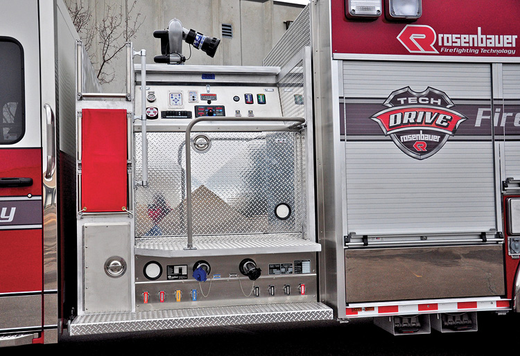 """Rosenbauer built this """"Safe Scene"""" top-mount pump panel on a pumper that's 18 inches above the side mount pump's discharges and intakes, facing the officer's side of the rig. (Photos 3-5 courtesy of Rosenbauer.)"""