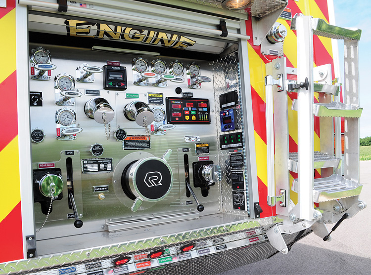 This pump panel at the rear of a Rosenbauer pumper is a typical layout for a panel installed at the rear of the vehicle.