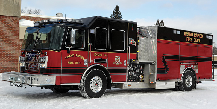 KME built this side-mount pumper with a top-mount, inward-facing pump panel accessed by two built-in steps for the Grand Rapids (MI) Fire Department. (Photos 8 and 9 courtesy of KME.)