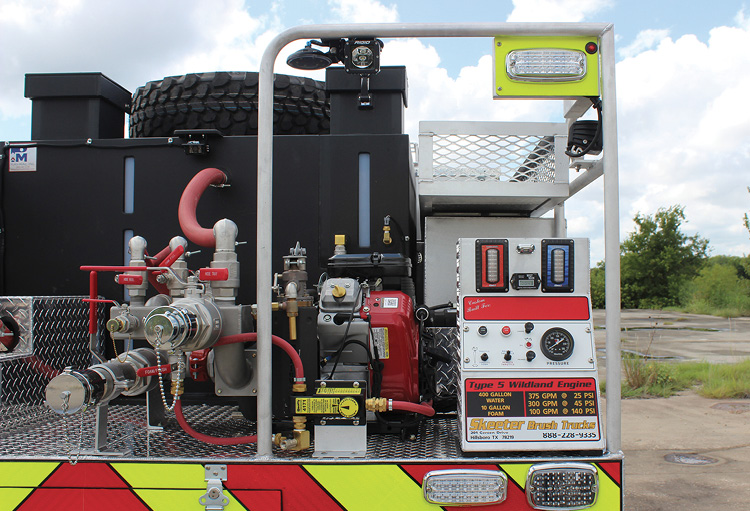 Skeeter Brush Trucks built this Type 5 wildland pumper with a rear-mount pump and pump panel located on the passenger-side rear deck of the rig. (Photos 10 and 11 courtesy of Skeeter Brush Trucks.)