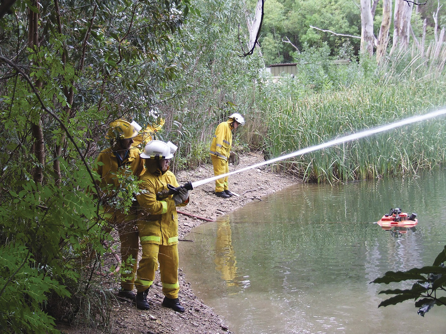 Firefighters use the Floto™ floating pump made by Waterous during a drill. The Floto is made in both standard and high-pressure versions.