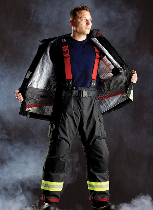 Lion's turnout gear blocks particulate contamination in the coat/pant interface area through Core Guard, an elastic from the coat that overlaps the top of the pant when closed. Courtesy of Lion.
