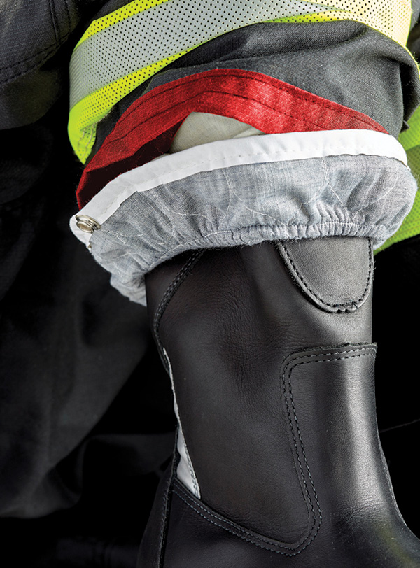 Lion uses a layer of Nomex® Nano Flex fabric in conjunction with Lion's moisture barrier in the bottom of the pant to go over the boot.