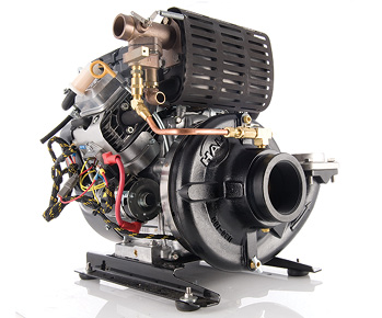 The Hale Products HPX200-B18 is powered by a Briggs & Stratton 18-hp gasoline engine and develops a maximum flow of 245 gpm and a maximum pressure of 175 psi.