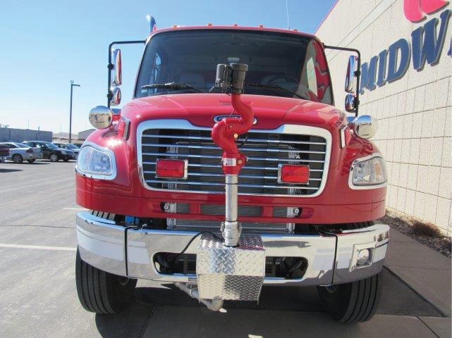 The front bumper on the Parshall pumper-tanker features an Elkhart Brass Sidewinder 500-gpm monitor that's electronically controlled from the cab.