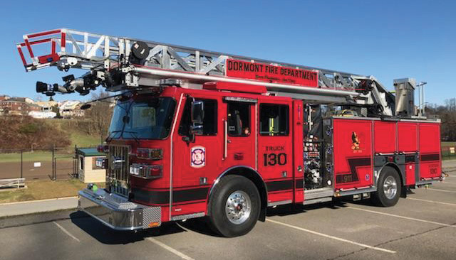 The Dormont (PA) Fire Department's Sutphen Monarch Pumper, one of the first of Sutphen's new 75-foot rear-mount aerials. [Photos courtesy of the Dormont (PA) Fire Department.]