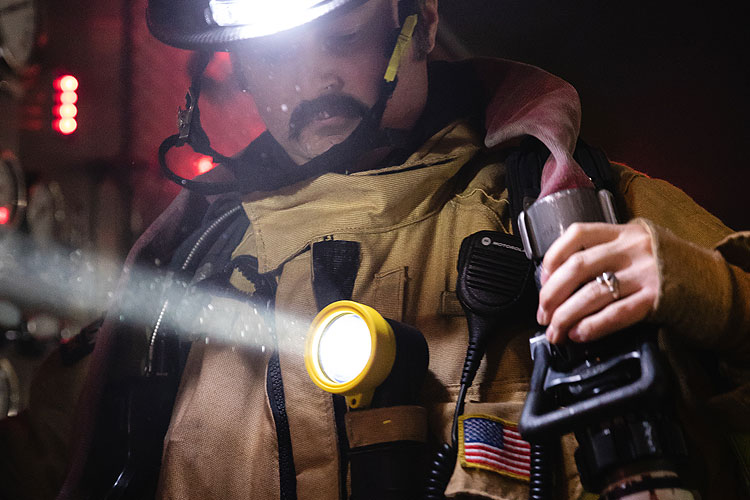 Firefighter with BTS Right Angle Light