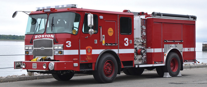 Engine 3, a 2017 E-ONE Typhoon 1,250/560/30A, is one of a 23-pumper order delivered to Boston. The EMS compartment above the front wheels is 42 inches high with a shutter door.