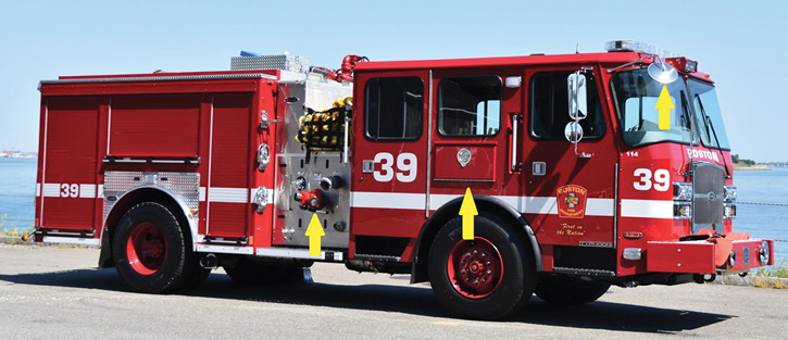 Engine 39 features the BFD's standard all-red paint job, flat cab roof, and painted steel wheels. The left arrow shows the gated suction siamese. The middle arrow shows the short EMS compartment over the front wheels with a drop-down door. The right arrow shows the oversized mirror allowing the MPO to see both ends of the bumper.