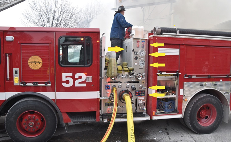 The arrows on the right side of Engine 52's pump panel show, from top to bottom, in a logical sequence: water and foam tank level indicators, master discharge gauge, master suction gauge, tank-to-pump control, and engine pressure governor. The right-facing arrow shows a D-Ring handle on the removable pump panel access door in the crosslay bed. The crosslay opening is 25 inches wide by 30 inches deep.