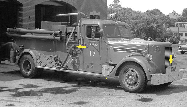 Engine 17's 1944 Peter Pirsch as modified to run as a single-piece engine company in 1958. A 2½-inch discharge was added on the right side with a gated wye that preconnected a 1½-inch trash line located above the crosslays and an unknown quantity of 1½-inch on the running board. The rearward crosslay is labeled for 350 feet, and the forward one is labeled for 200 feet—ostensibly for 1½-inch. Pumpers of that era carried a split bed of 600 feet of 2½-inch and 600 feet of 3-inch. The treadplate bumper was supplied on several pumpers and hose wagons of that era.