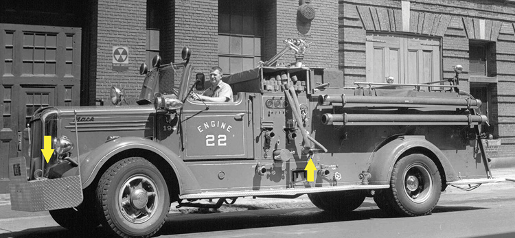 Engine 22's 1948 Mack retrofitted with crosslays preconnected to a 2½-inch left-side discharge installed by the Motor Squad. The treadplate bumper has thumped an obstacle or two.