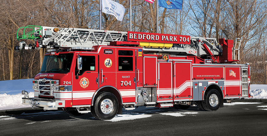 Pierce—Village of Bedford Park (IL) Fire Department Ascendant 107-foot aerial ladder quint.