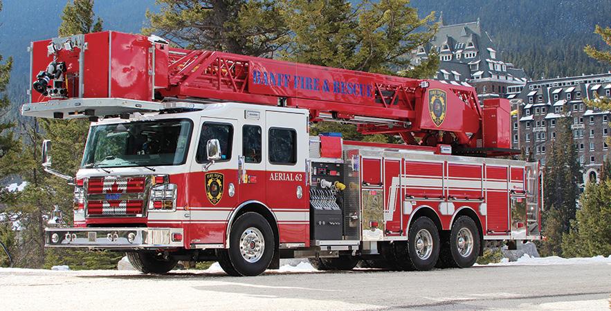 Rosenbauer—Banff Fire & Rescue, Alberta, Canada, 104-foot rear-mount aerial platform quint.