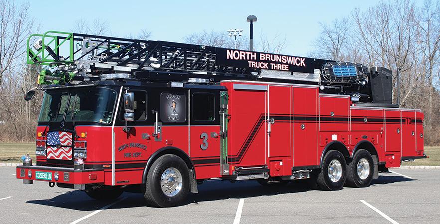 E-ONE—North Brunswick (NJ) Fire Company 3 HPS105 steel aerial ladder quint.