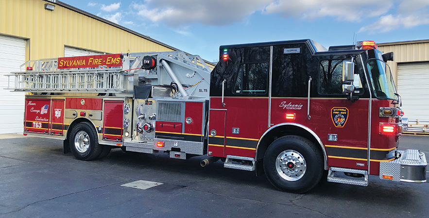Sutphen—Sylvania Township (OH) Fire Department 75-foot aerial quint.