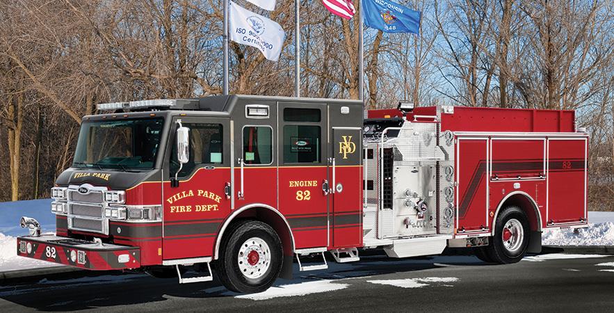 Pierce—Village of Villa Park (IL) Fire Department pumper. Impel cab and chassis; Cummins L9 450-hp engine; Waterous CSU 1,500-gpm pump; UPF Poly 750-gallon tank. Dealer: John Kenna, Global Emergency Products, Aurora, IL.