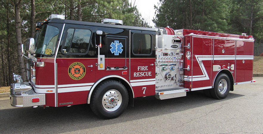 E-ONE—Barrow County Fire Department, Winder, GA, pumper. Typhoon cab and chassis; Cummins ISL 450-hp engine; Hale Qmax 1,500-gpm pump; UPF Poly 780-gallon water tank; 30-gallon foam cell; Hale/Class1 2.1A single-agent foam system with SmartFoam controller; low hosebed. Dealer: Jim McDonel, Fireline Inc., Winder, GA.