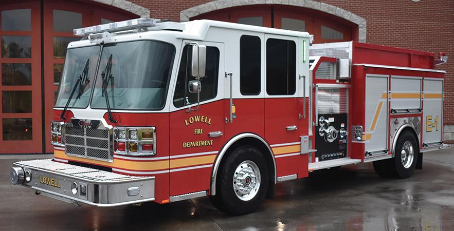 Ferrara—Lowell (AR) Fire Department top-mount custom pumper.