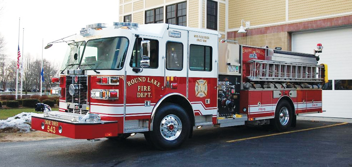ETA-543's chauffeur side of the apparatus has the high-rise hose roll-up storage.