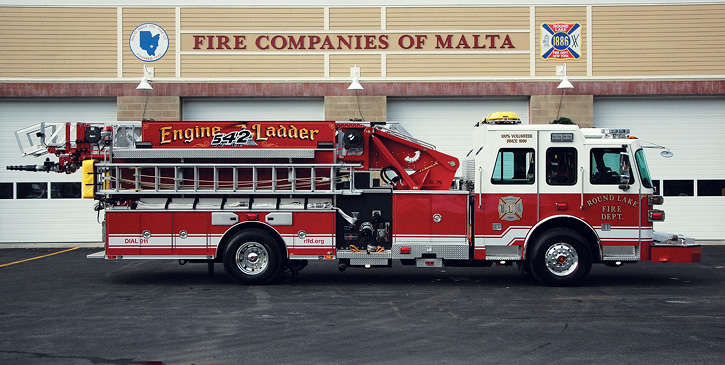 The ladder signage mounted on EL-542 aerial ladder shows the company pride in its apparatus