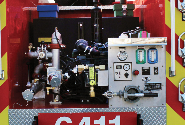 REV Group often installs around-the-pump foam proportioning systems on Type 6 pumpers when departments need foam only at one or two discharges.