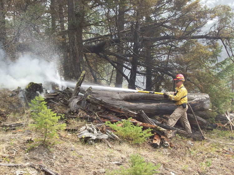 This wildland firefighter is using a Scotty Firefighter Foam-Fast system.