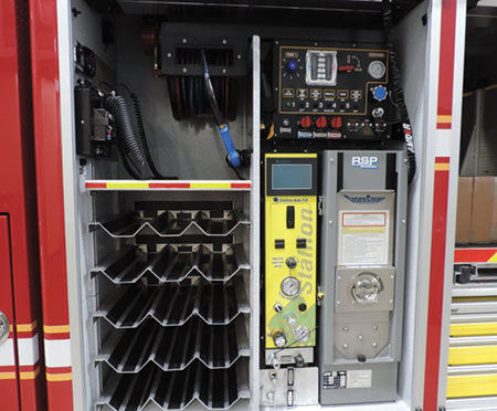 The control panel for the UHP system and SCBA cascade system