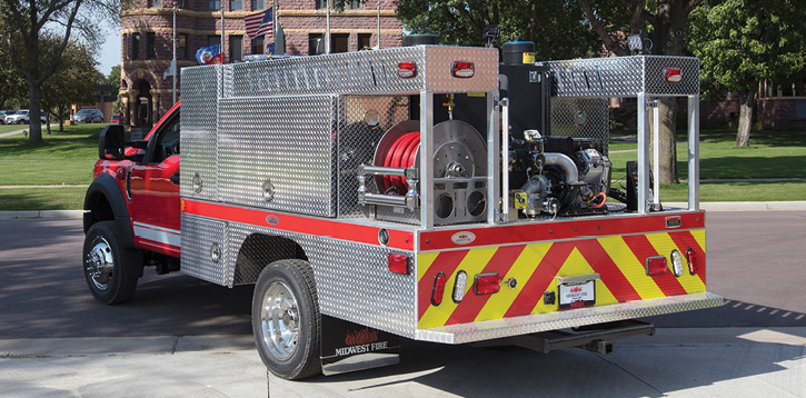 This brush truck was manufactured with an all-aluminum treadplate body. Midwest also offers brush trucks with its All-Poly body