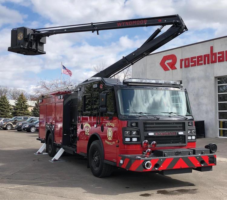 Wyndmoor Hose Company #1's Rosenbauer ACP with the 55-foot boom raised.