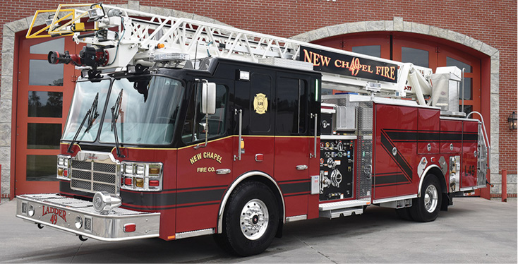 Ferrara—New Albany Township (IN) Fire Department, New Chapel Fire Company, 75-foot aerial ladder quint.