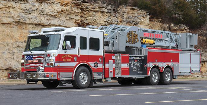 Rosenbauer—South Bend (IN) Fire Department 100-foot aerial ladder quint.