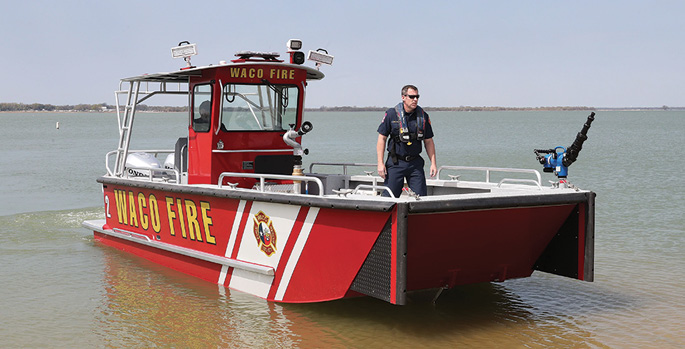 Lake Assault—Waco (TX) Fire Department fireboat and rescue craft