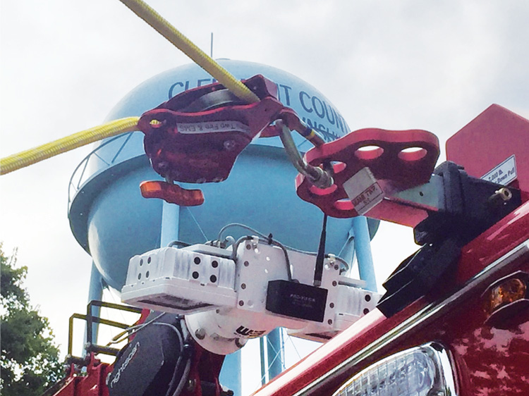 Two 2,000-pound-capacity two-inch receivers for high tie-off points are integrated into the body design. Four additional two-inch receiver tie-off points are located under the apparatus, with two on each side of the rescue body.