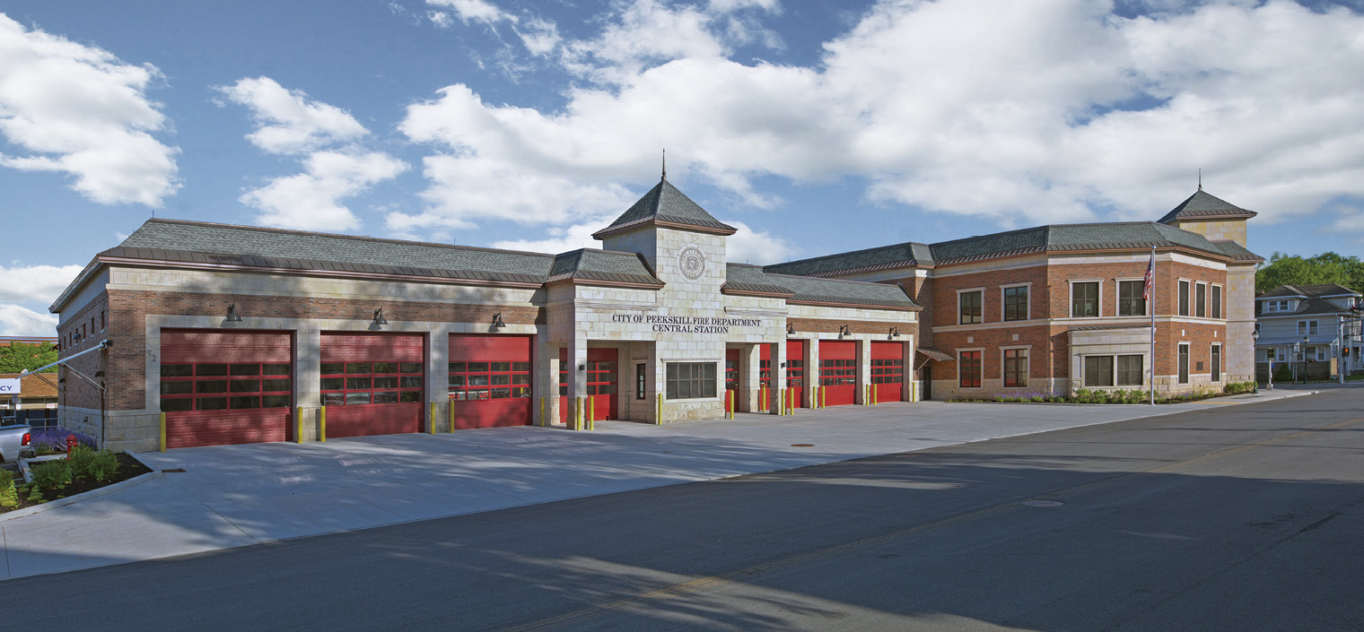 Mitchell Associates Architects designed this two-story, eight-bay station for the Peekskill (NY) Fire Department.