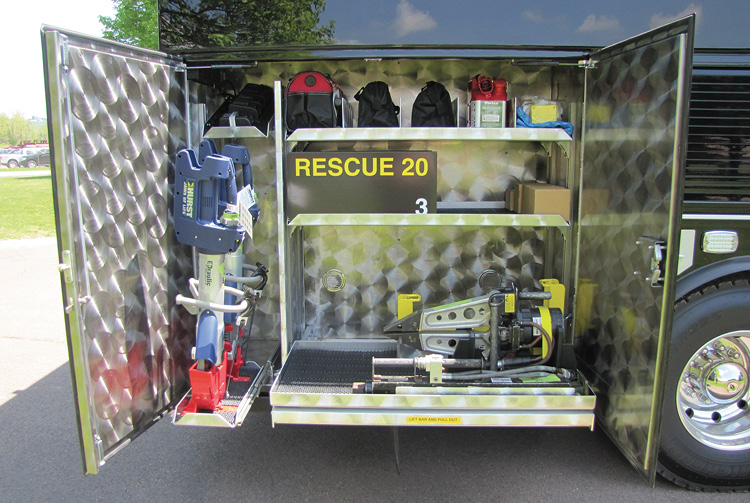 Hurst hydraulic and battery-powered eDRAULIC rescue tools are in the Melrose rescue's R6 compartment.