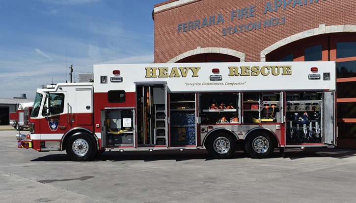 Ferrara Fire Apparatus built this heavy rescue for the Old Mystic (CT) Fire Department, which required a number of special storage solutions.