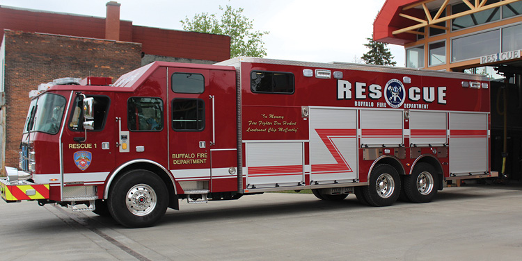 E-ONE built this heavy rescue for the Buffalo (NY) Fire Department with 11 body compartments.