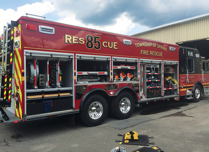This wet rescue built by KME for the Spring Township (PA) Fire Department has a transverse compartment for plywood and timbers as well as other unique shelving.