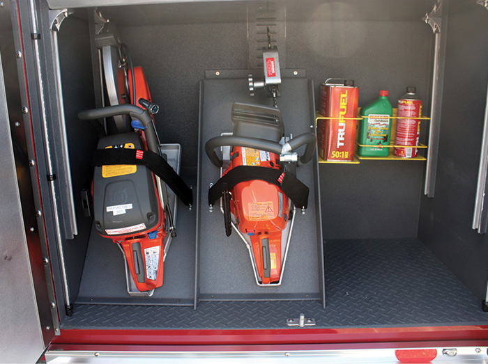 This compartment uses Ziamatic's saw and fuel storage applications.