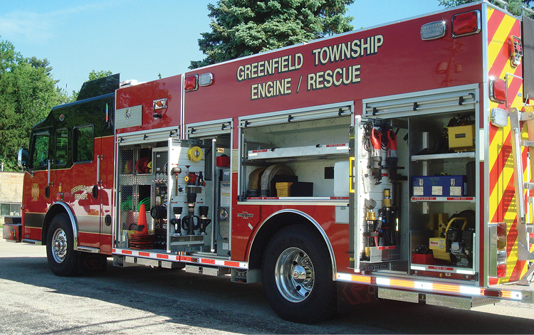 Sensible Products set up the compartments on this rescue-pumper for the Greenfield Township (OH) Fire Department