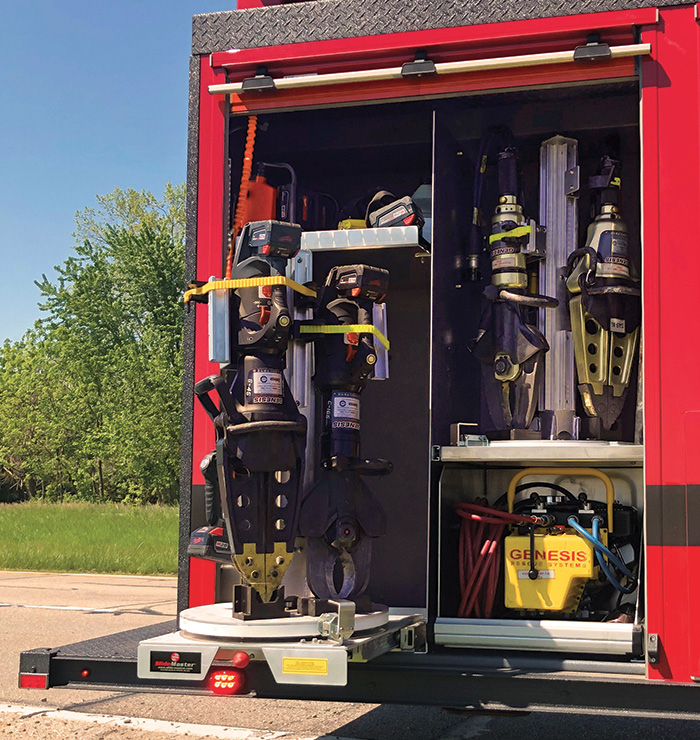 Fire and Marine Inc. installed this turntable for hydraulic rescue tools on a rescue truck for the Pickaway Township (OH) Fire Department.