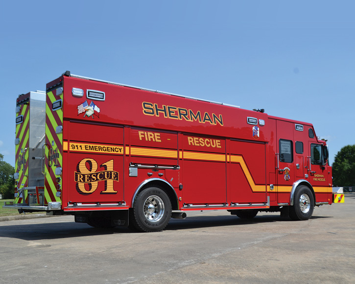 The wheelbase on the SVI heavy rescue for Sherman is 231 inches, the overall length is 36 feet 8 inches, and the overall height is 11 feet.