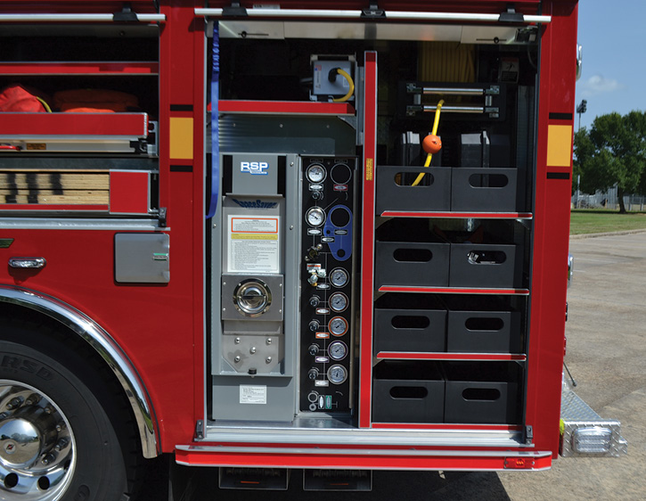 Sherman's heavy rescue carries a Resolve Specialty Products SpaceSaver™ two-position SCBA fill station.