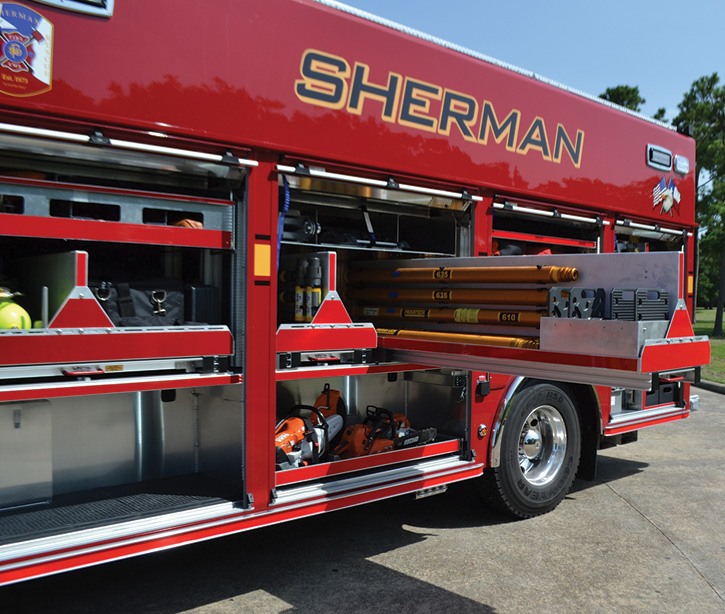 One of the two transverse compartments on the rescue holds Sherman's Paratech rescue struts.