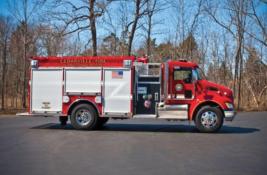Fouts Bros.—Columbia Litchfield Fire District pumper-tanker. Kenworth T370 cab and chassis; Cummins L9 380-hp engine; Darley LDM 1,250-gpm pump; 1,250-gallon Polybilt™ water tank; 30-gallon foam cell; FoamPro 2001 single-agent foam system; two FRC Spectra lights; plumbed for a deck gun. Dealer: Billy Shoemaker, Fouts Bros., Smyrna, GA.
