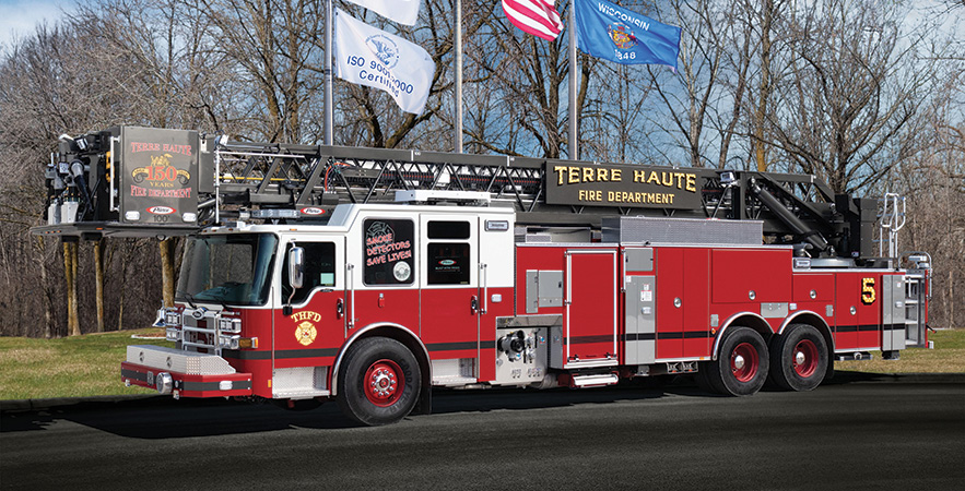 Pierce—Terre Haute (IN) Fire Department 100-foot PUC platform quint. Dash CF cab and chassis; Detroit DD13 505-hp engine; Pierce 1,500-gpm single-stage pump; UPF Poly 300-gallon water tank. Dealer: Tim Learned, Global Emergency Products, Whitestown, IN.
